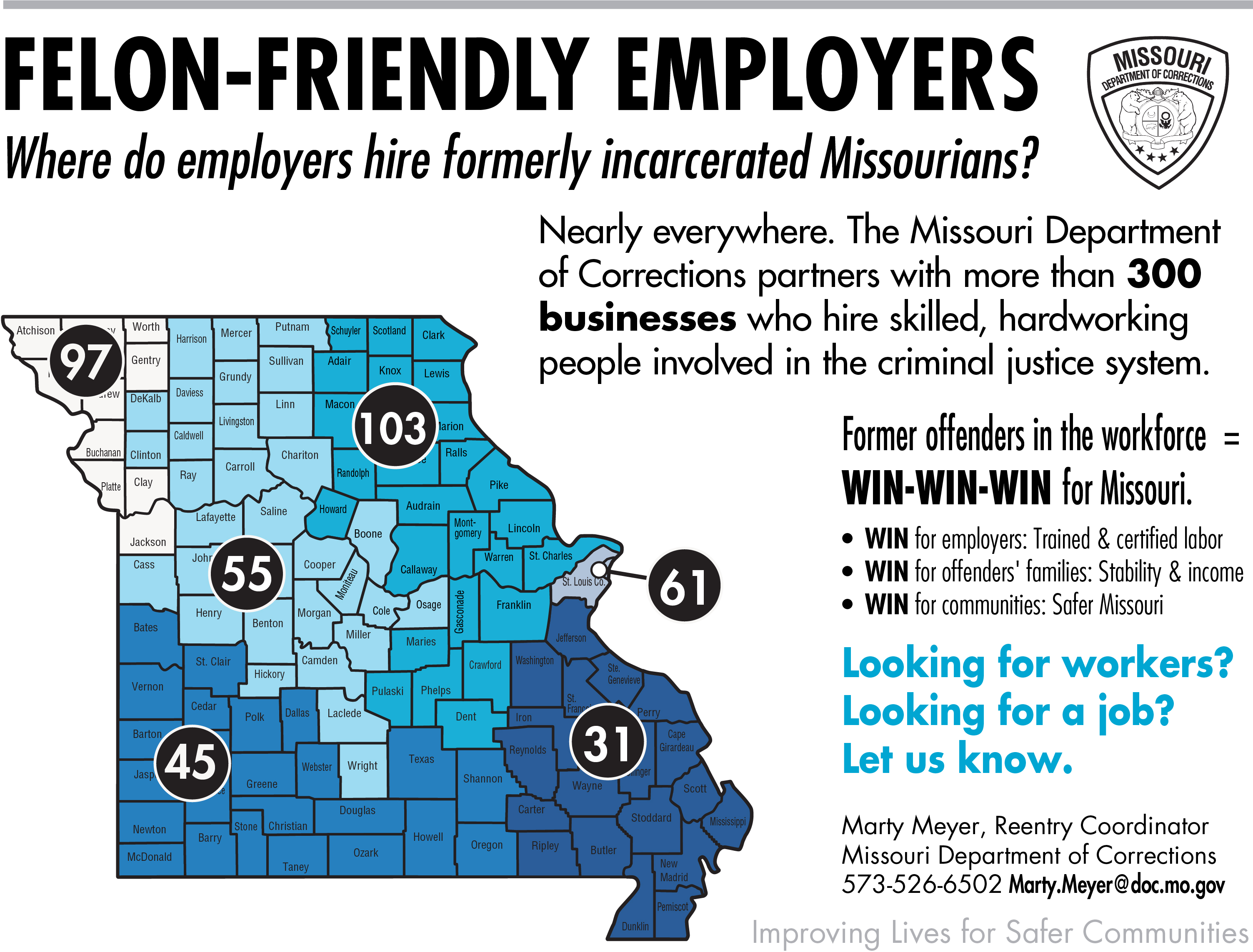 Felon Friendly Employers by region infographic