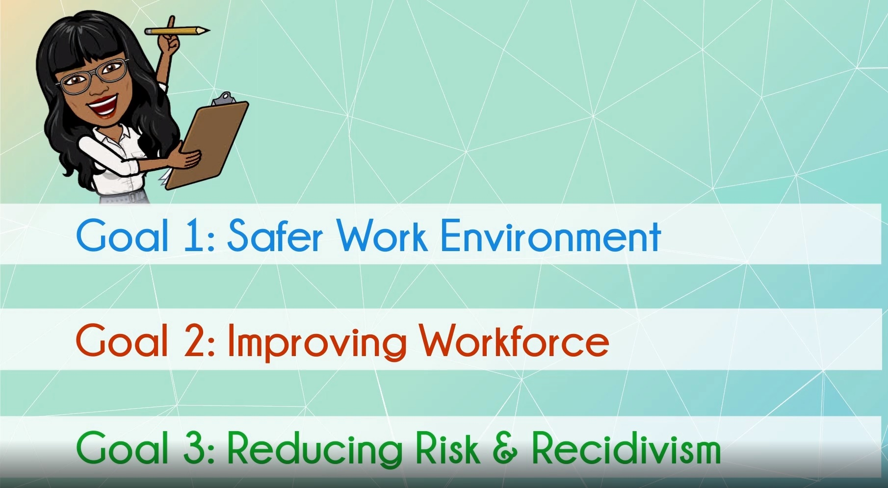 Goals: Safer Work Environment, Improving Workforce, Reducing Risk and Recidivism