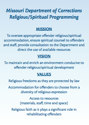 Religious/Spiritual Programming Mission-Vision-Values